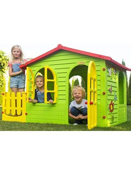 Большой детский домик Mochtoys с заборчиком (DM-06)